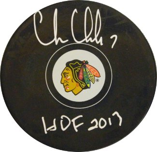 Chris Chelios signed Chicago Blackhawks Hockey Puck HOF 2013