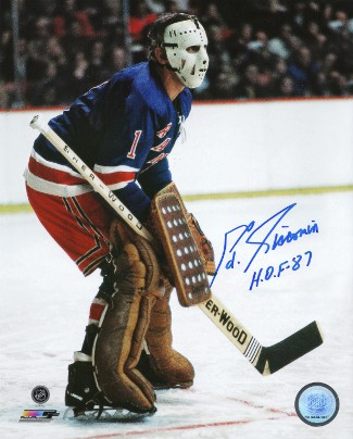 Ed Giacomin signed New York Rangers 16X20 Color Photo HOF 87