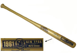 Al Downing signed New York Yankees 1961 World Series Champs Cooperstown Engraved Gold Bat w/ Art Ditmar (9 signatures)