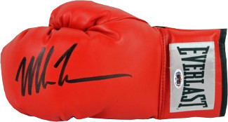 Mike Tyson signed Everlast White Label Red Left Boxing Glove (black sig)- Tri-Star Hologram