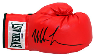 Mike Tyson signed Everlast White Label Red Right Boxing Glove (black sig)- Tri-Star Hologram (Heavyweight Champ)