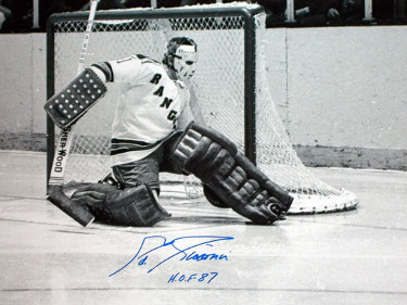 Ed Giacomin signed New York Rangers 16X20 B&W Photo HOF 87