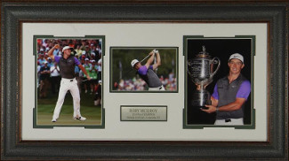 Rory McIlroy unsigned 17x35 3 Photo Leather Framed 2014 PGA @ Valhalla