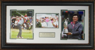 Rory McIlroy unsigned 17x35 3 Photo Leather Framed 2014 British Open
