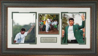 Bubba Watson unsigned 17x35 3 Photo Leather Framed 2012 & 2014 Augusta Masters Champion