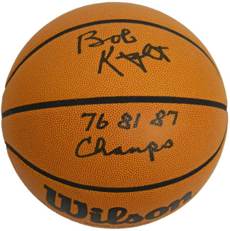 Bobby Knight signed NCAA Wilson Indoor/Outdoor Basketball 76 81 87 Champs- PSA Hologram (Indiana Hoosiers)