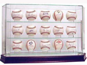 Baseball 15-Ball Steiner Sports  Glass Deluxe Display Case, cherry wood base w/ mirror