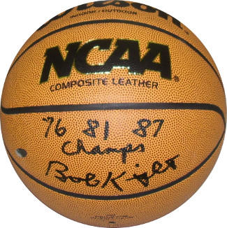 Bobby Knight signed NCAA Wilson Indoor/Outdoor Basketball 76 81 87 Champs- Steiner Hologram (Indiana Hoosiers)
