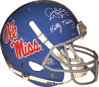 Archie Manning signed Ole Miss Rebels TB Light Blue Full Size Schutt Replica Helmet dual #18 & Hotty Toddy- Steiner Hologram