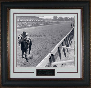 Secretariat 1973 Belmont Stakes Vintage B&W 11x14 Photo Premium Leather Framing V Groove Matting - Ron Turcotte