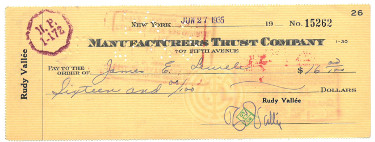 Rudy Vallee signed 1935 Manufacturers Trust Bank Cancelled Check Red Stamp/Ink- Band Leader/Actor (music/entertaiment)