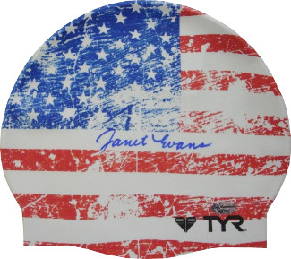 Janet Evans signed Olympic Team USA Swimming American Flag TYR Swim Cap (4 Gold Medals)