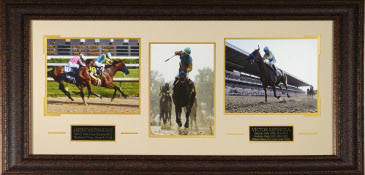 Victor Espinoza American Pharoah 3 Photo Triple Crown 41x19 Framing Kentucky Derby-Preakness-Belmont Stakes