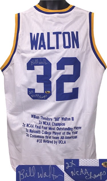 Bill Walton signed College White TB Custom Stitched Basketball Jersey 2X NCAA Champs w/ Embroidered Stats XL- MAB Holo