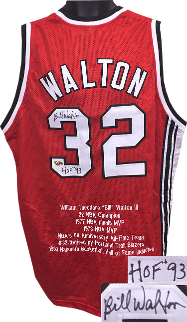 Bill Walton signed Red TB Custom Stitched Basketball Jersey HOF 93 w/ Embroidered Stats XL