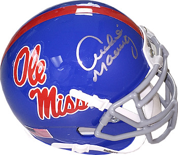 Archie Manning signed Ole Miss Rebels TB Light Blue Schutt Authentic XP Mini Helmet- Steiner Hologram