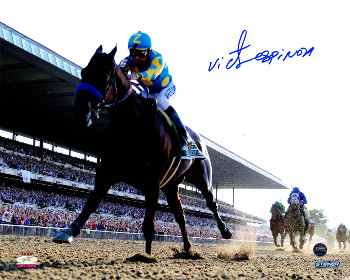 Victor Espinoza signed 2015 Belmont Stakes American Pharoah Triple Crown 8x10 Photo - Steiner Hologram