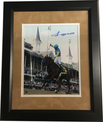 American Pharoah signed 8X10 Photo Custom Framing Suede Mat 2015 Kentucky Derby Horse Racing Triple Crown Victor Espinoza- STEIN