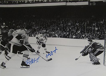 Johnny Bucyk signed Boston Bruins 16x20 B&W Photo with Fred Stanfield