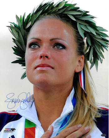 Jennie Finch signed Olympic Team USA 16x20 Photo w/ Crown (2004 Olympic Ceremony)