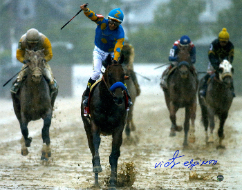 American Pharoah signed 11x14 Photo 2015 Preakness Horse Racing Triple Crown with Victor Espinoza- Steiner Holo