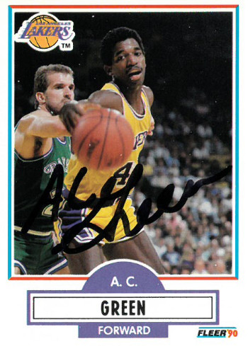 AC Green signed Los Angeles Lakers 1990-91 Fleer Basketball Trading Card #92