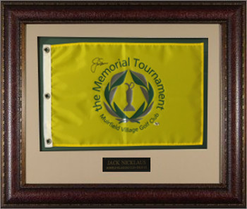 Jack Nicklaus signed Memorial Tournament Golf Pin Flag Leather Framing Muirfield Village Golf Club - Beckett LOA # A86279