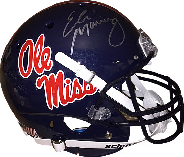 Eli Manning signed Ole Miss Rebels Dark Blue Full Size Replica Schutt Helmet (silver signature)- Steiner Hologram