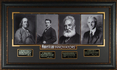 Alexander Graham Bell American Innovators unsigned 23x38 Eng Sig Series Leather Framed (4 photo) Franklin/Edison/Ford (history)