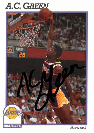 AC Green signed Los Angeles Lakers 1990-1991 NBA Hoops Basketball Trading Card #100