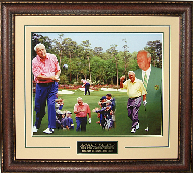 "Arnold Palmer unsigned ""50 Years"" Masters Collage 16x20 Photo Leather Framed V-Groove Premium Matting"