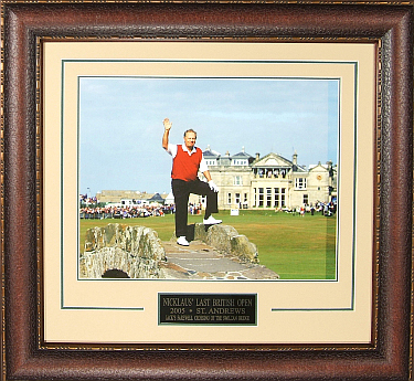 Jack Nicklaus 2005 British Open Farewell Swilcan Bridge 11X14 Photo Premium Leather Framing & V-Groove Matting