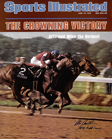 Affirmed signed Belmont Horse Racing 16X20 Photo Sports Illustrated Cover June 19, 1978 w/ 1978 Triple Crown