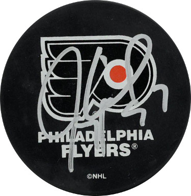 Jeremy Roenick signed Philadelphia Flyers Puck #97 (silver sig)