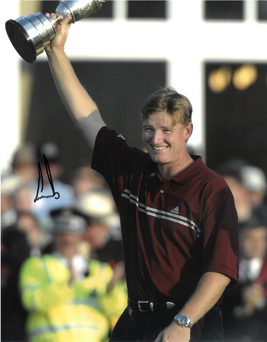 Ernie Els signed PGA 11x14 Photo (w/ Trophy at 2002 Open Championship)