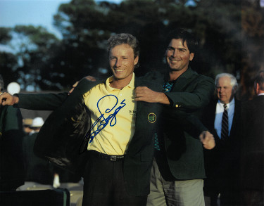 Bernard Langer signed PGA 11x14 Photo (1993 Augusta National Masters Championship green jacket w/ Fred Couples)