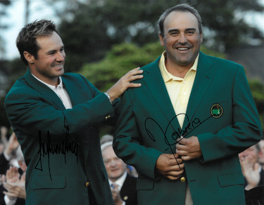 Angel Cabrera signed PGA 11x14 Photo with Trevor Immelman (2009 Augusta National Masters Championship green jacket)