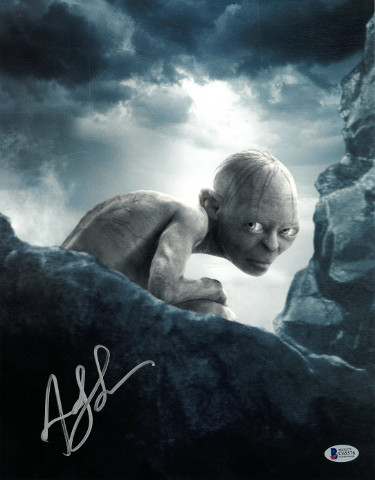 Andy Serkis signed Lord of the Rings Gollum 11X14 Photo (vertical- silver sig)- Beckett Holo #C65576