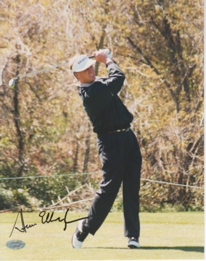 Steve Elkington signed 8x10 Photo- Mounted Hologram