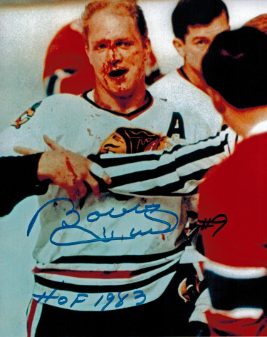 Bobby Hull signed Chicago Blackhawks 8x10 Photo Blood #9 HOF 1983