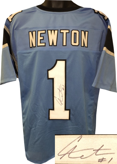 Cam Newton signed Blue Custom Stitched Pro Style Football Jersey #1- JSA Hologram