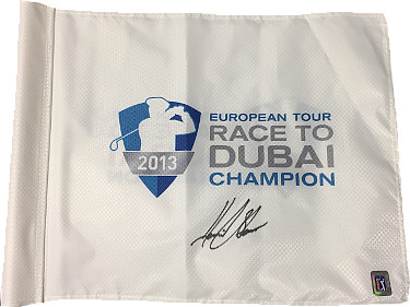 Henrik Stenson signed European Tour Race to Dubai Champion White PGA Tour Flag- JSA Hologram #CC09313
