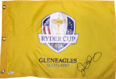 Rory McIlroy signed 2014 Ryder Cup Gleneagles Scotland Golf Pin Flag- JSA Hologram #M89426