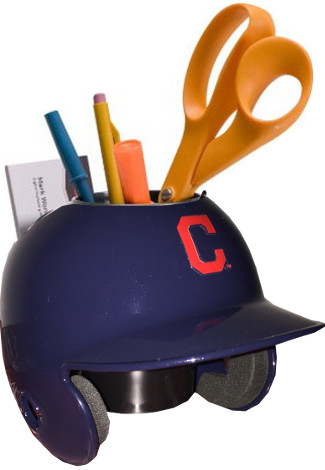 "Cleveland Indians Red ""C"" MLB Baseball Schutt Mini Batting Helmet Desk Caddy"