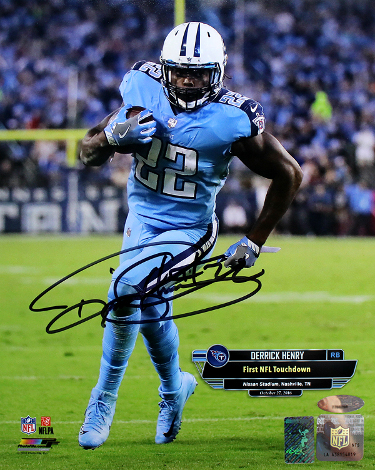 Derrick Henry signed Tennessee Titans 8x10 Photo (1st Touchdown October 27, 2016)- Henry & Tri-Star Holograms