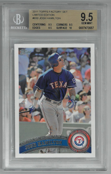 Josh Hamilton 2011 Topps Factory Set Limited Edition Baseball Card #650- BGS Graded 9.5 Gem Mint (Texas Rangers)