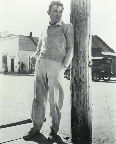 James Dean unsigned Vintage B&W 8x10 Poster Card/Photo (leaning on pole)