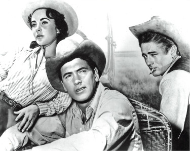 "Rock Hudson, James Dean and Elizabeth Taylor unsigned Vintage B&W 8x10 Photo from the 1956 Film ""Giant"""