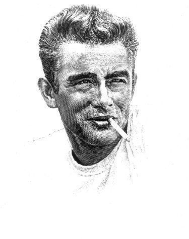 James Dean unsigned Vintage B&W 8x10 Photo (artist rendition)