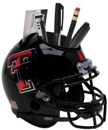 Texas Tech Red Raiders (Black Guns Up) NCAA Football Schutt Mini Helmet Desk Caddy